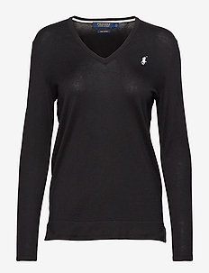 UV Cotton V-Neck Sweater - POLO BLACK