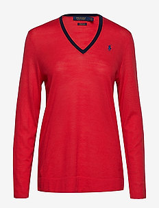 Wool V-Neck Golf Sweater - DEEP ORANGEY RED