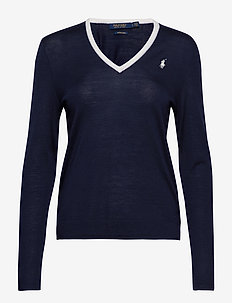 Wool V-Neck Golf Sweater - FRENCH NAVY