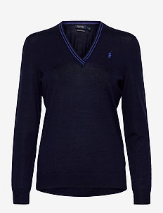 Merino Wool V-Neck Golf Sweater - jumpers - french navy/summer royal