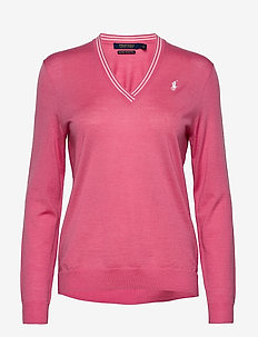 Merino Wool V-Neck Golf Sweater - jumpers - antique rose/pure white