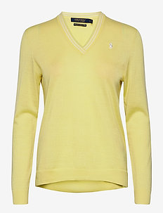 Merino Wool V-Neck Golf Sweater - jumpers - bristol yellow/pure white