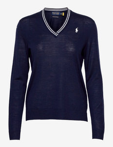 Merino Wool V-Neck Golf Sweater - pullover - french navy/pure