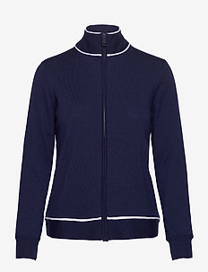 Wind-Blocking Wool Full-Zip Golf Sweater - cardigans - french navy/white