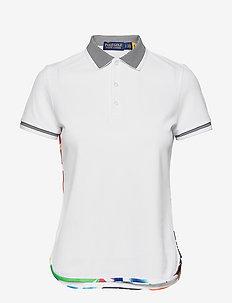 Tailored Fit Graphic-Trim Polo Shirt - koszulki polo - white/abstract pa