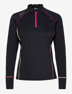 Scalloped Quarter-Zip Pullover - sweatshirts - polo black/aruba