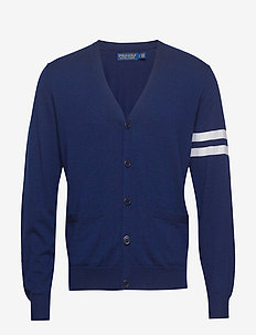Merino Wool V-Neck Cardigan - FRENCH NAVY