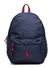 ACADEMY BACKPACK LG - NAVY NYLON/RED W RED PP&LINING