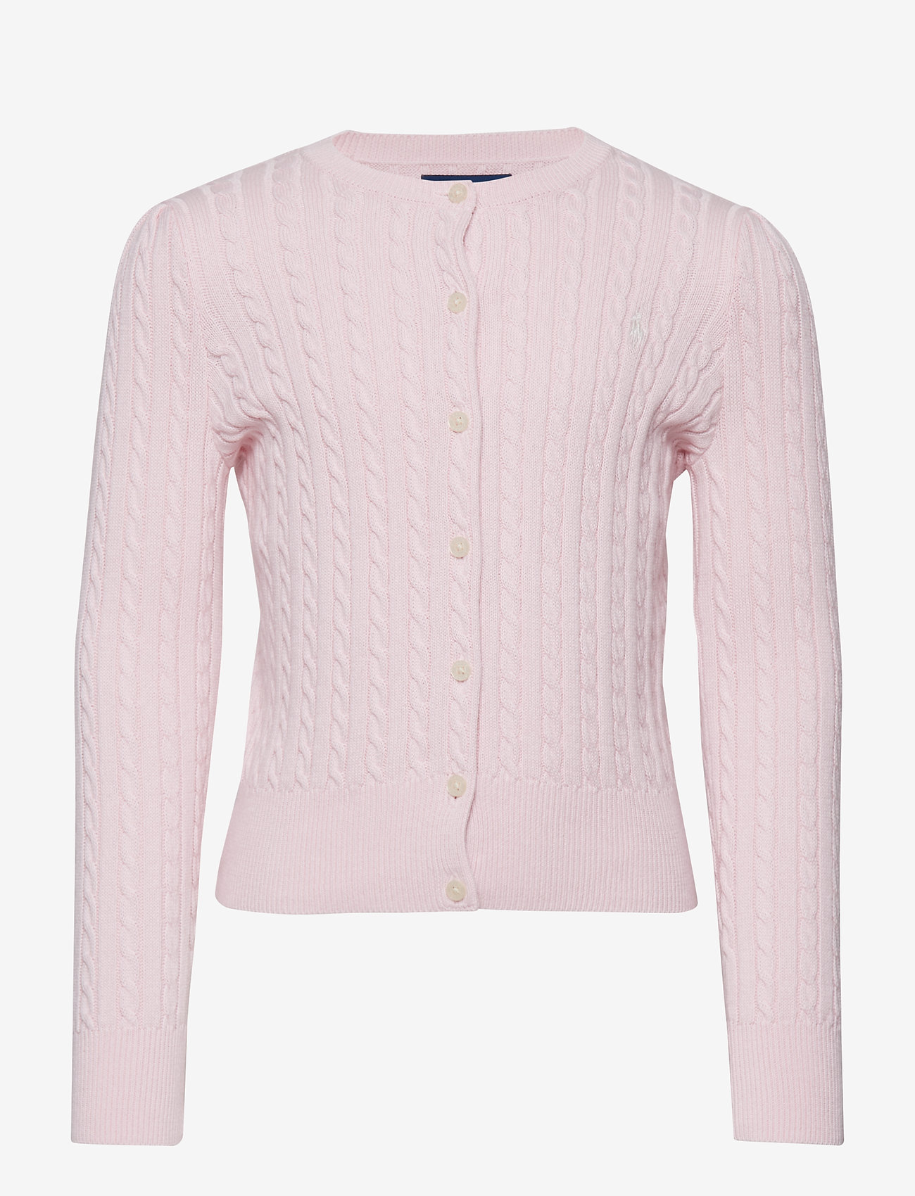 Ralph Lauren Kids - Mini-Cable Cotton Cardigan - gilets - hint of pink - 0