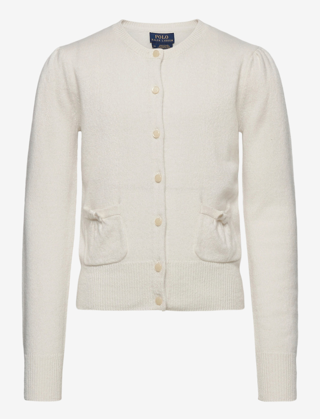 Ralph Lauren Kids - CASHMERE-PATCH PCKT-TP-SWT - cardigans - warm white - 0