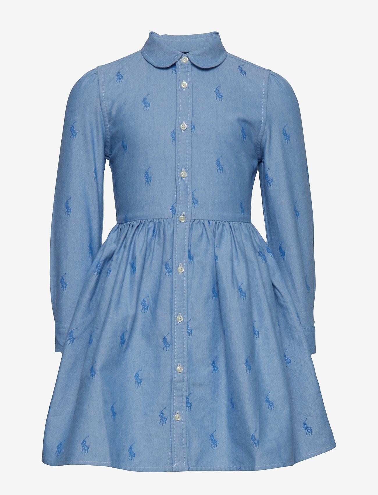 Ralph Lauren Kids - Pony Cotton Shirtdress - kleider - oxford blue - 0