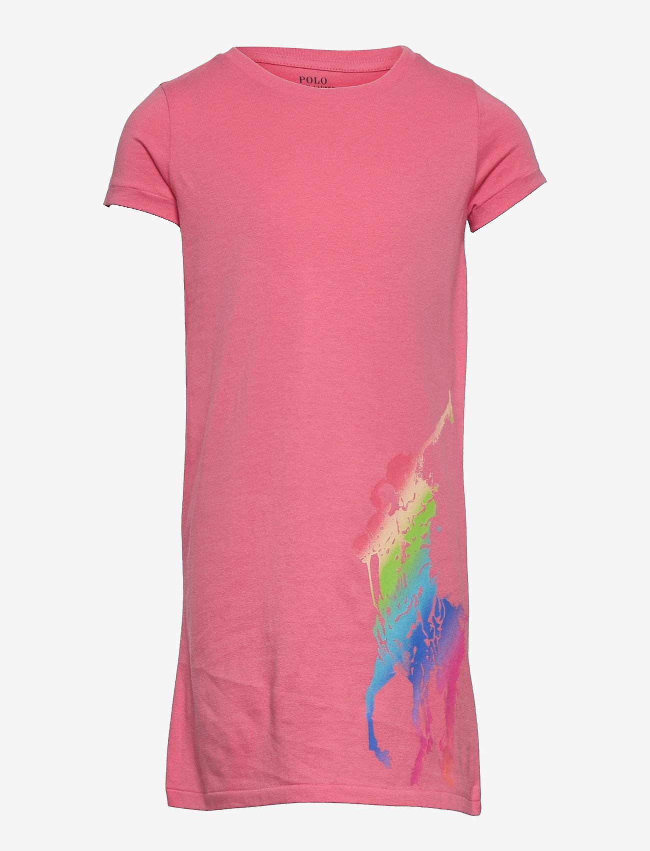 Ralph Lauren Kids - Big Pony Cotton Jersey Tee Dress - kleider - ribbon pink - 0