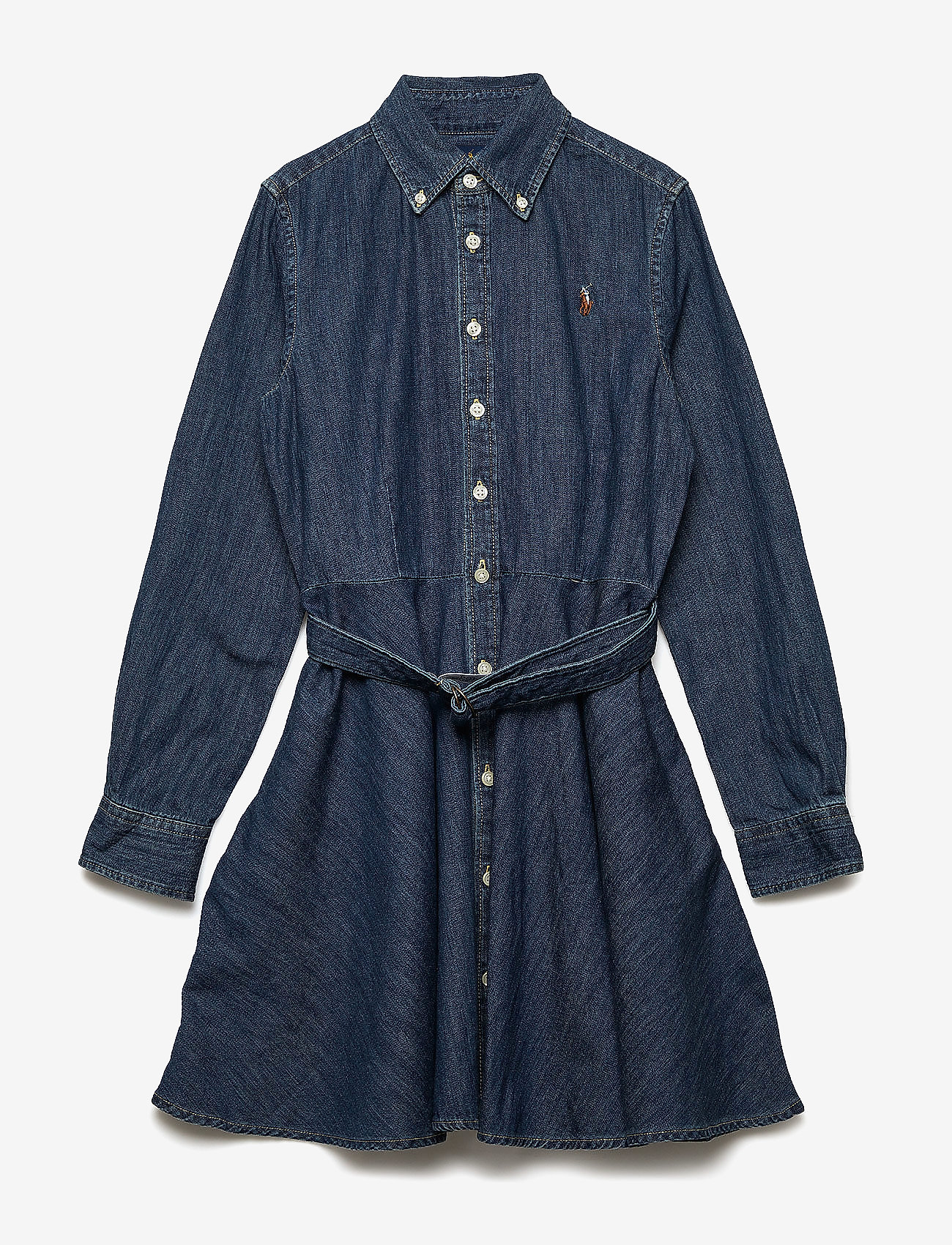 Ralph Lauren Kids - Belted Cotton Denim Shirtdress - robes - indigo - 1