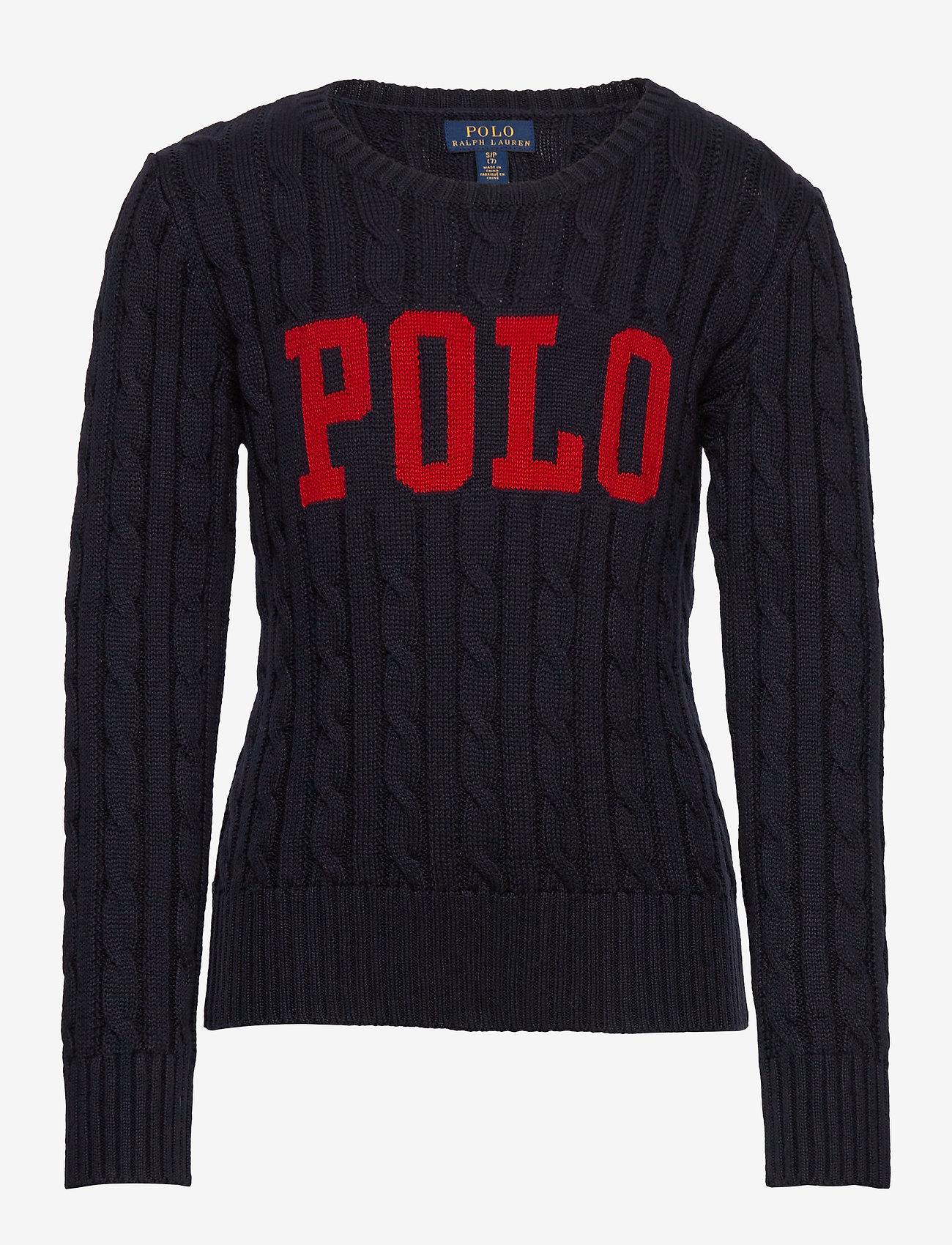 Ralph Lauren Kids - Logo Cable-Knit Cotton Sweater - knitwear - rl navy - 0