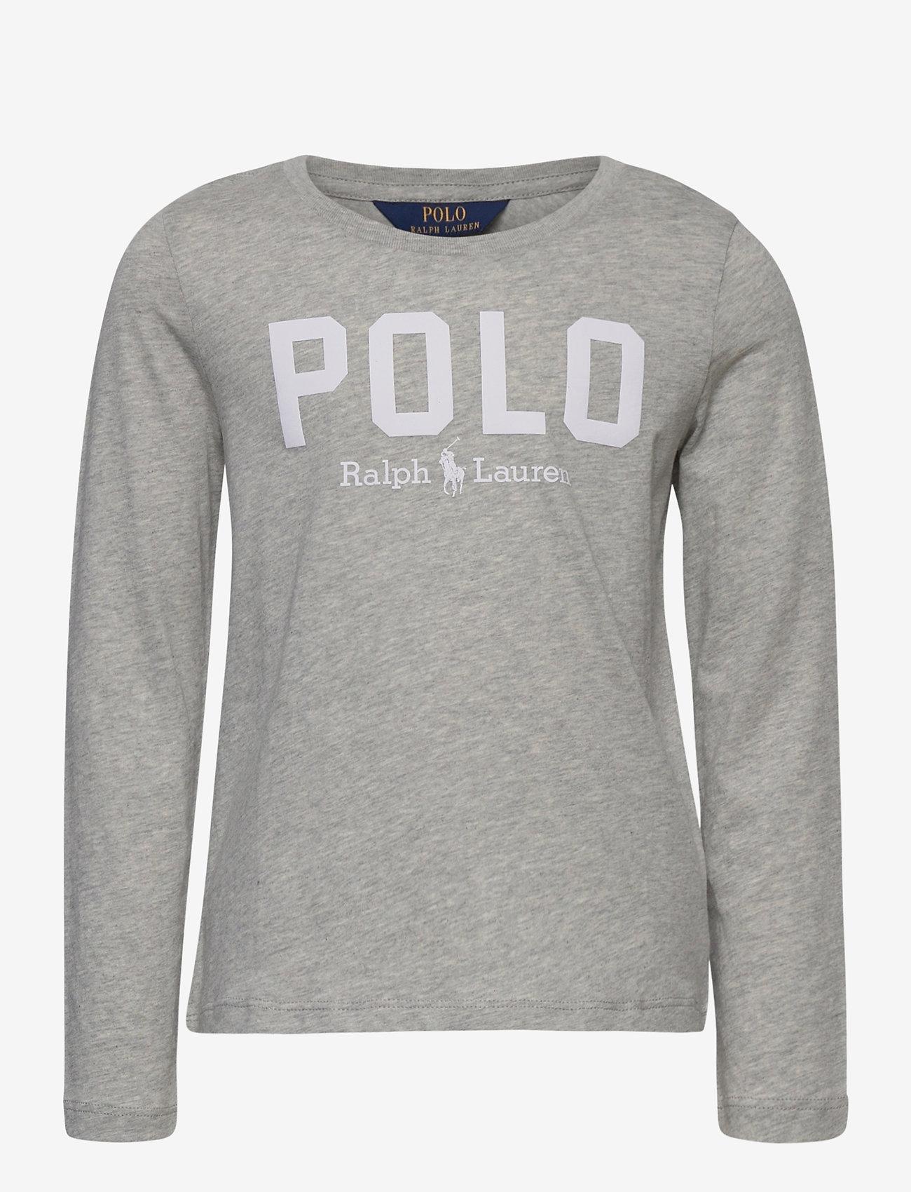 Ralph Lauren Kids - Cotton Jersey Long-Sleeve Logo Tee - long-sleeved t-shirts - spring heather - 0
