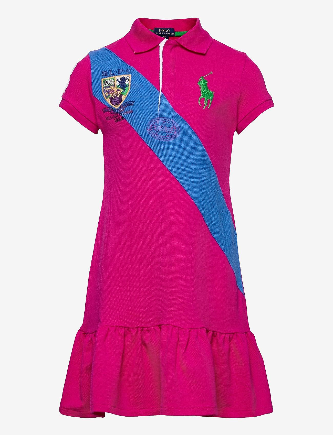 Ralph Lauren Kids - Banner-Stripe Cotton Mesh Polo Dress - kleider - accent pink - 0