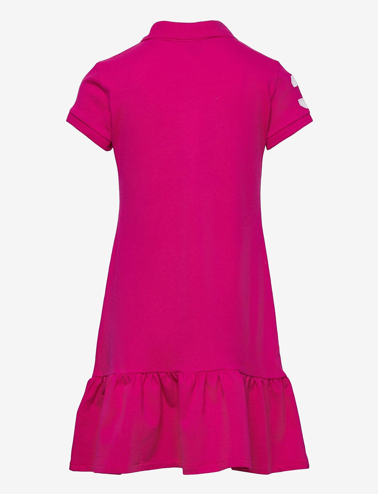 Ralph Lauren Kids - Banner-Stripe Cotton Mesh Polo Dress - kleider - accent pink - 1