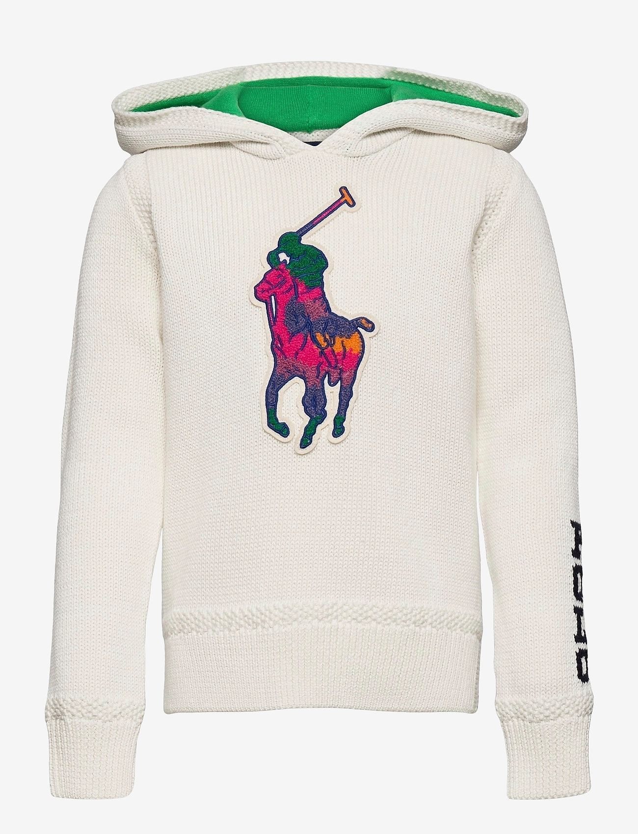 Ralph Lauren Kids - Big Pony Hooded Cotton Sweater - pulls à capuche - trophy cream mult - 0