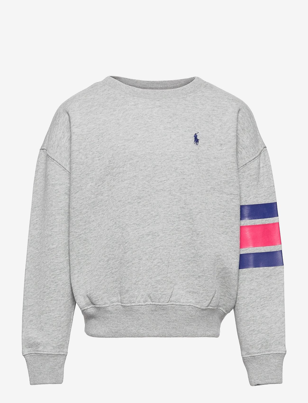 Ralph Lauren Kids - Logo Striped Fleece Sweatshirt - sweatshirts - andover heather - 0