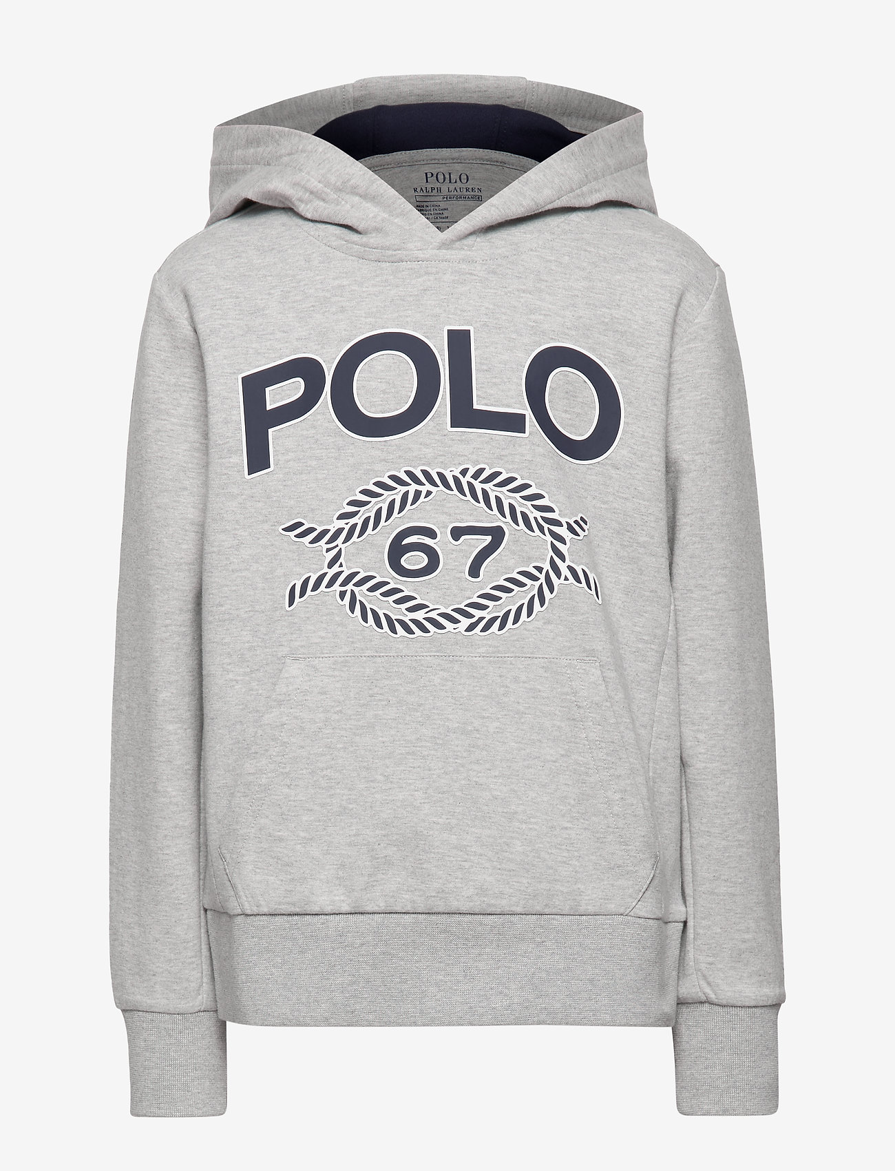 Ralph Lauren Kids - Double-Knit Graphic Hoodie - hoodies - lt grey heather - 0