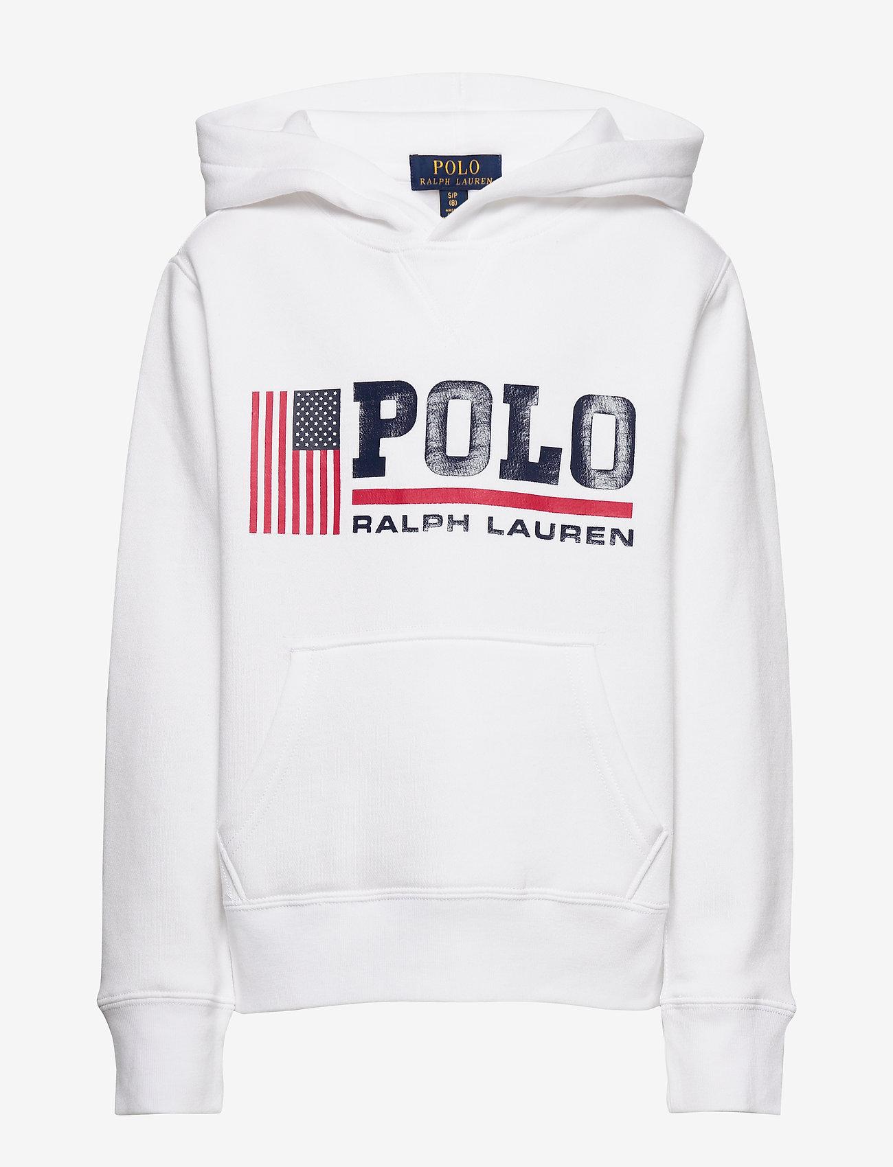 Ralph Lauren Kids - Flag Logo Fleece Hoodie - pulls à capuche - white - 0
