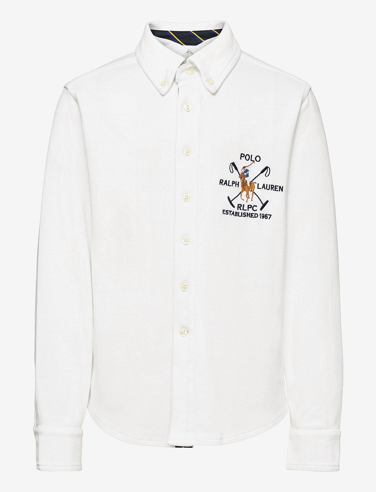 Ralph Lauren Kids - Cotton Interlock Shirt - overhemden - white - 0