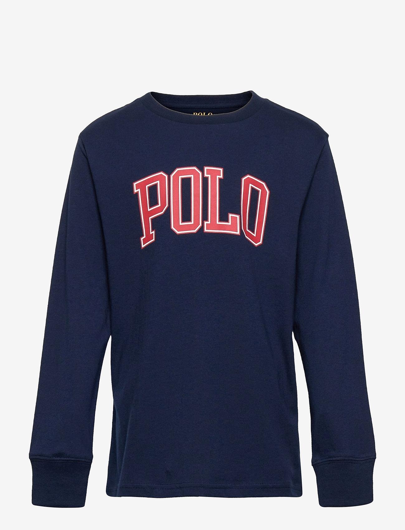 Ralph Lauren Kids - Logo Cotton Jersey Tee - long-sleeved t-shirts - cruise navy - 0
