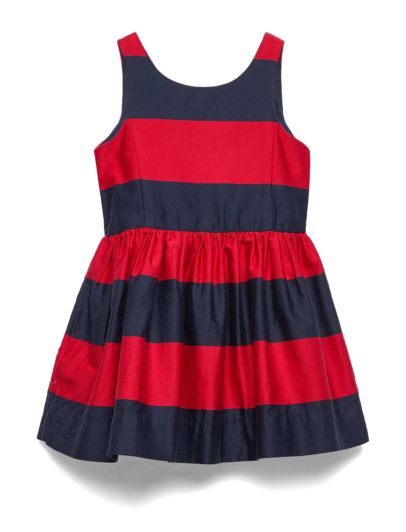 Ralph Lauren Kids Striped Cotton Sateen Dress - RED/NAVY