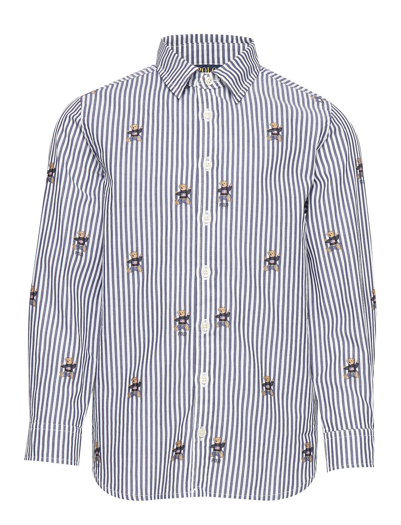 Ralph Lauren Kids Sweater Bear Cotton Shirt - NAVY WHITE