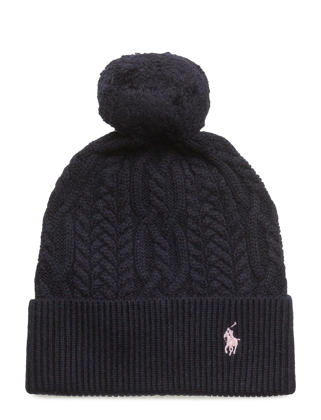 d31bbcdfaaa Aran-knit Pom-pom Hat (Hunter Navy) (£29.40) - Ralph Lauren Kids ...