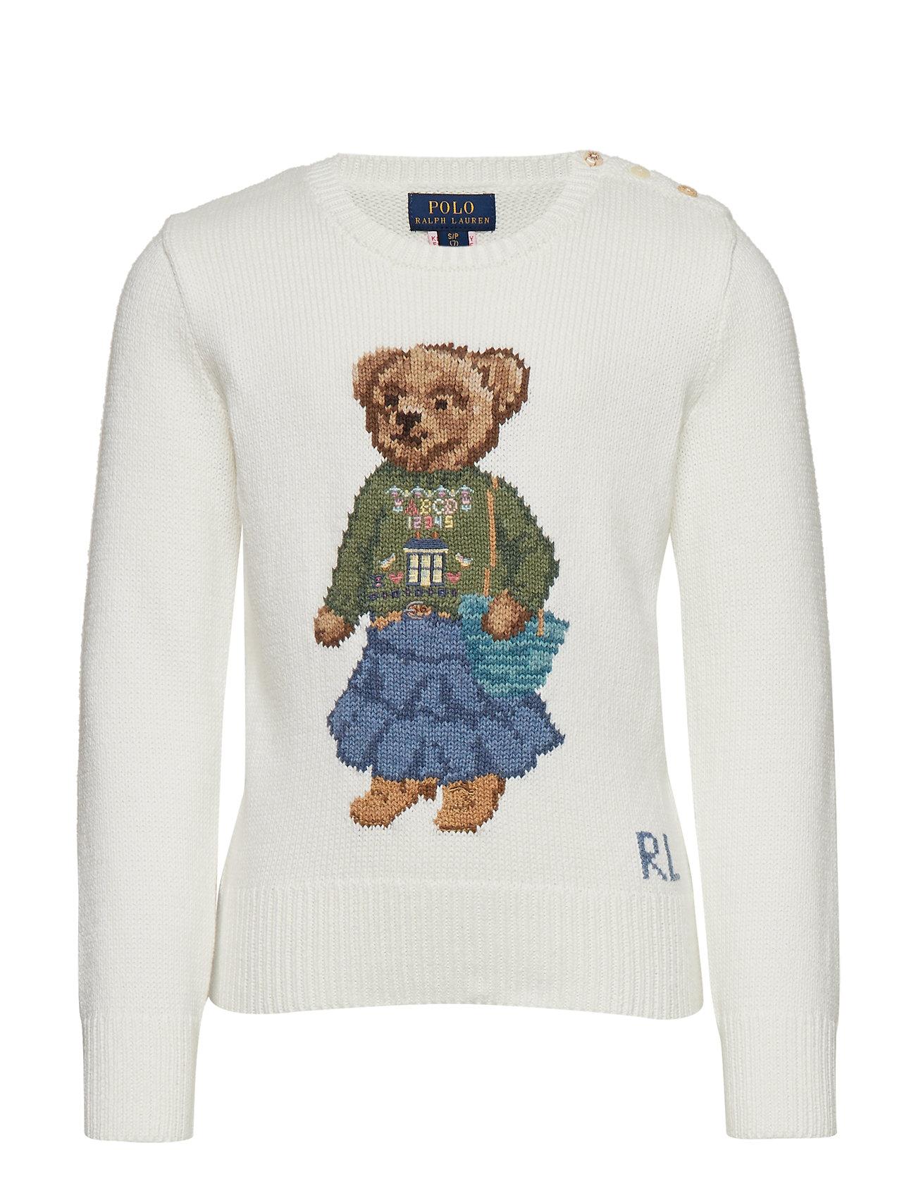 Ralph Lauren Kids Boho Bear Cotton Sweater - TROPHY CREAM
