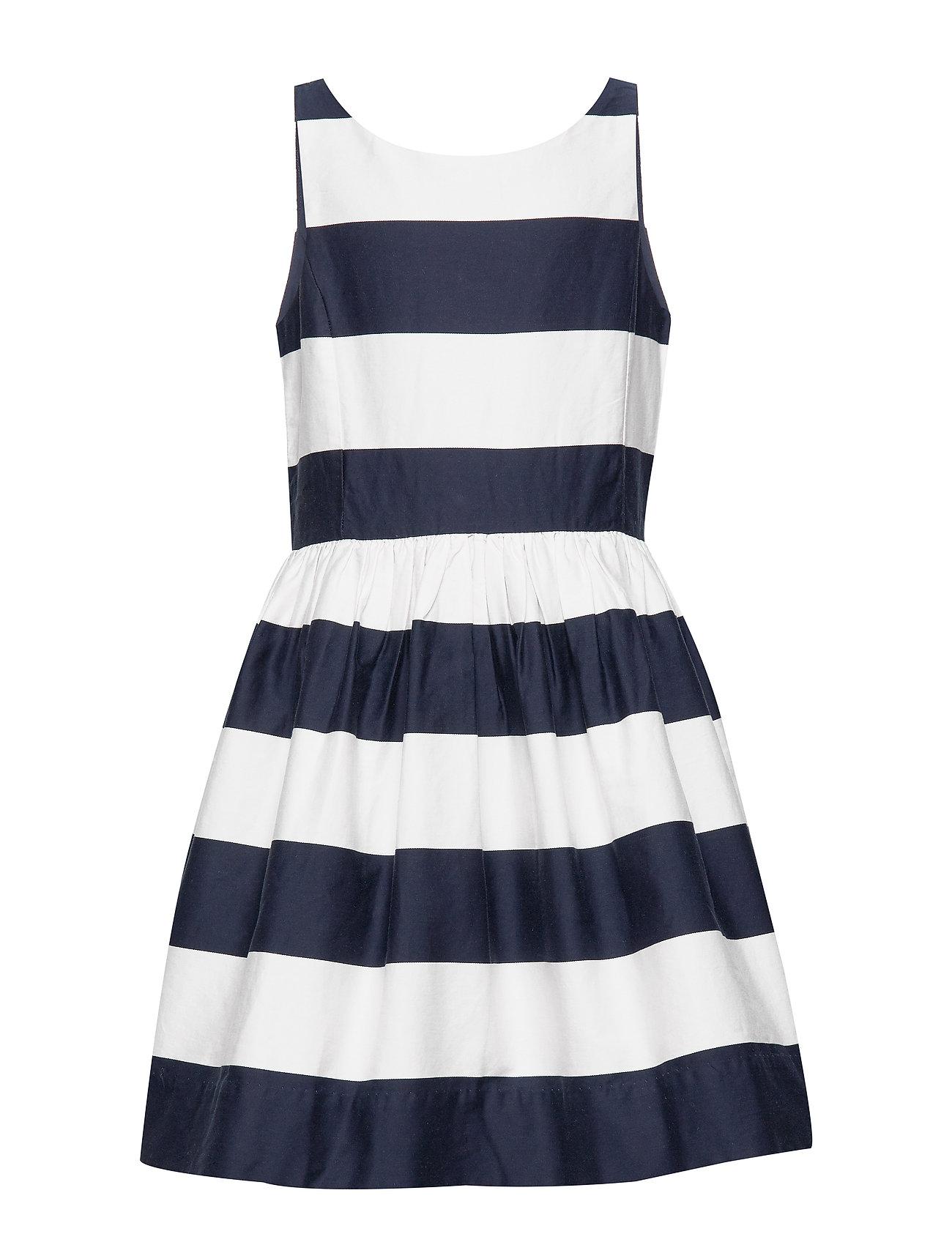 Ralph Lauren Kids Striped Cotton Sateen Dress - HUNTER NAVY/NEVIS