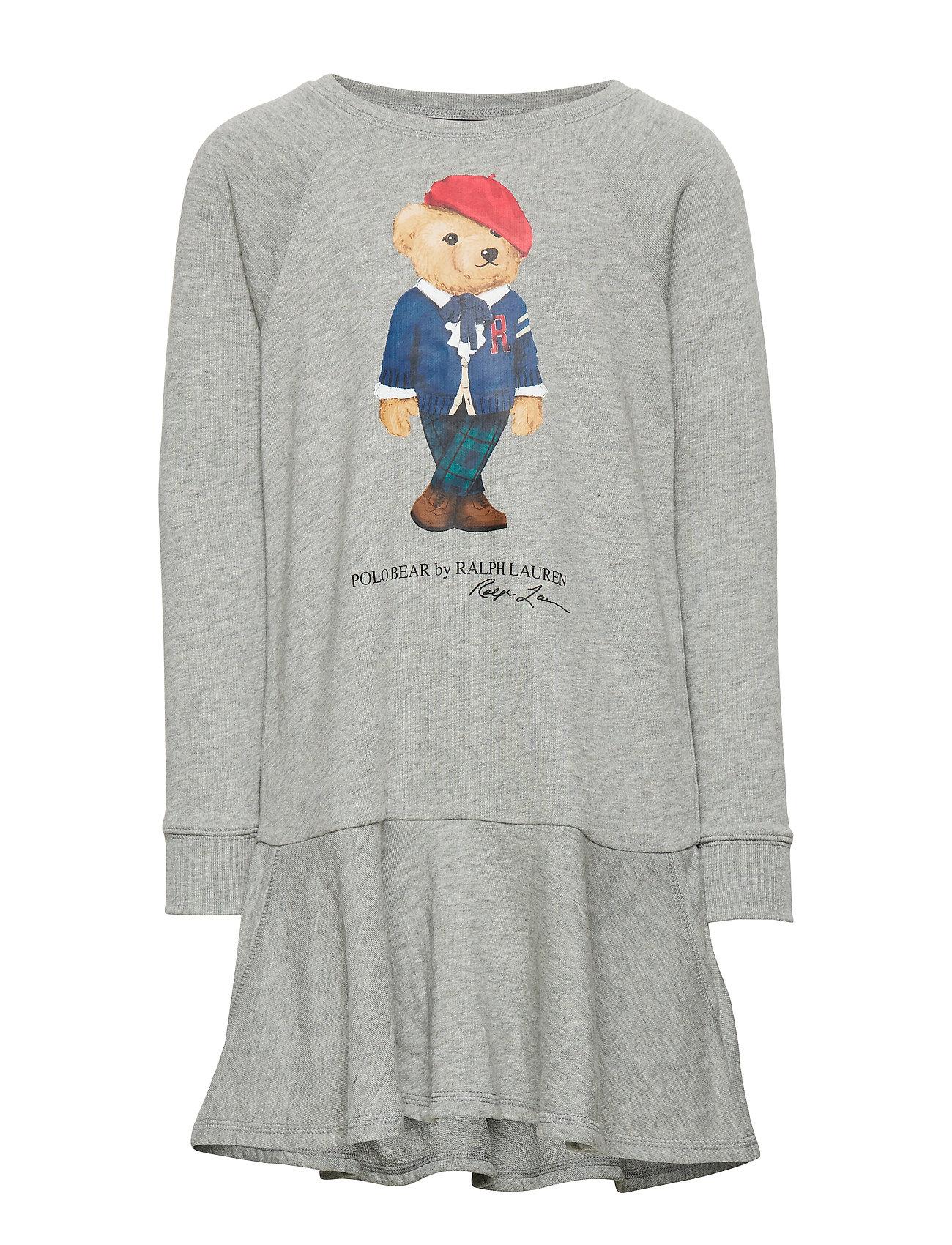 Ralph Lauren Kids Bear Cotton-Blend Terry Dress - LT GREY HEATHER