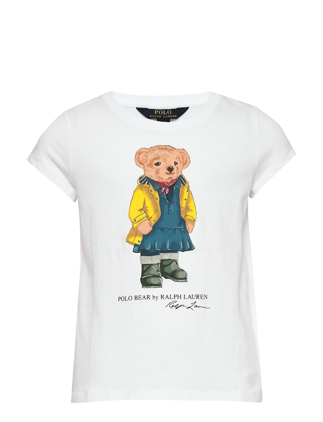 Ralph Lauren Kids Raincoat Bear Cotton Tee - WHITE