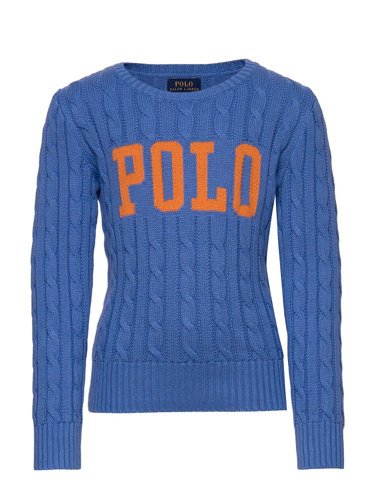 Ralph Lauren Kids Logo Cable-Knit Cotton Sweater - HARBOR ISLAND BLU