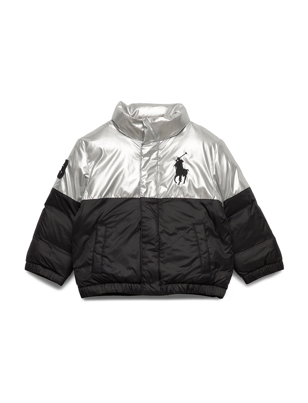 Ralph Lauren Kids Polo Bear Foil Down Jacket - SILVER / BLACK