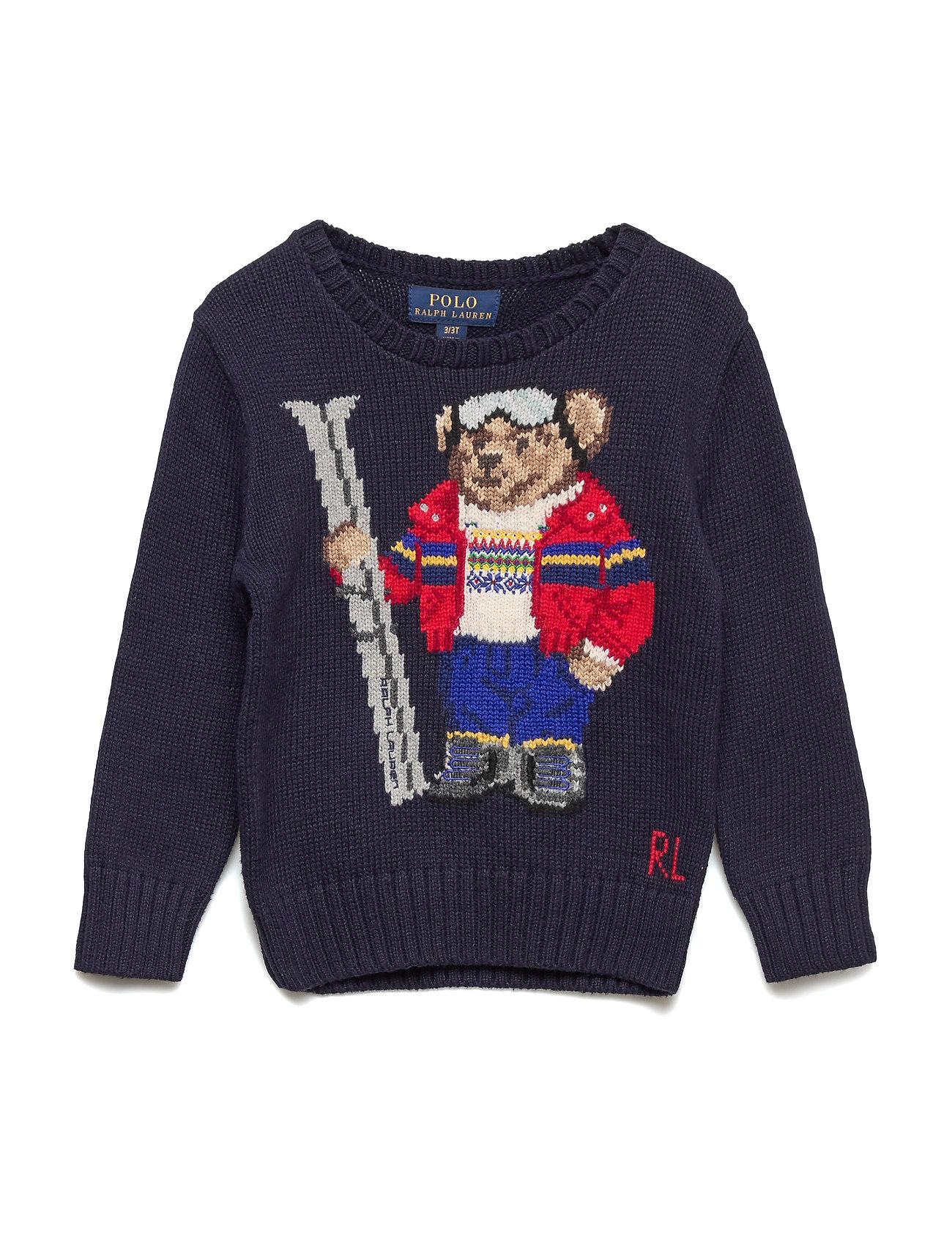 Ralph Lauren Kids Ski Bear Cotton-Blend Sweater - RL NAVY