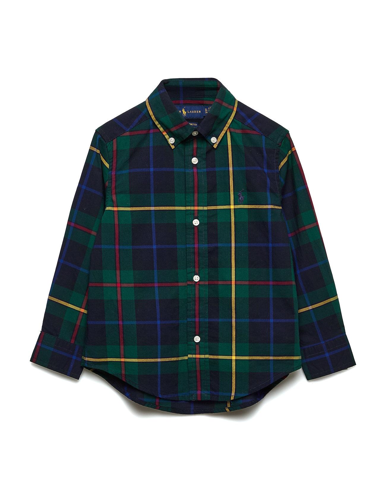 Ralph Lauren Kids Plaid Cotton Poplin Shirt - GREEN/NAVY MULTI