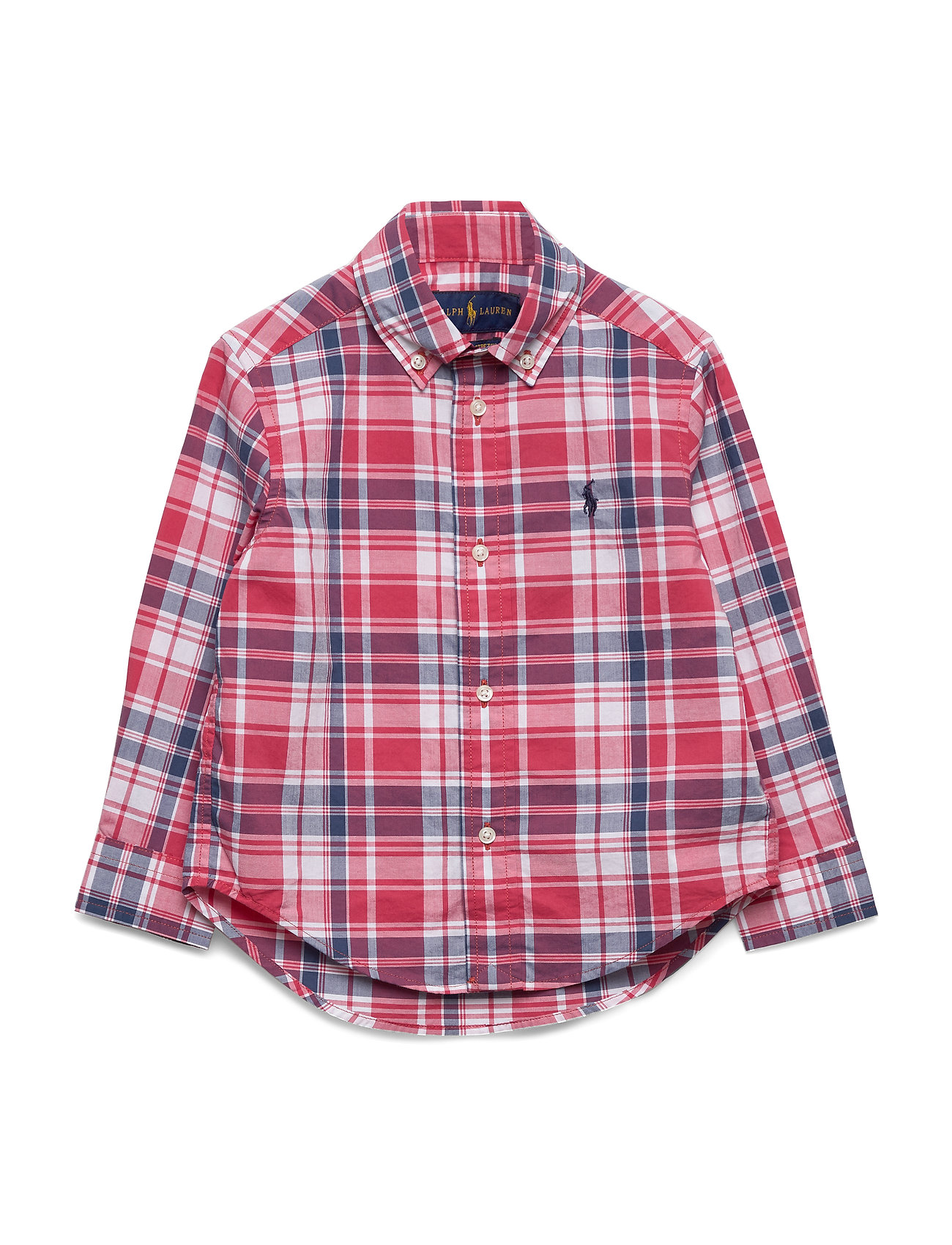 Ralph Lauren Kids Plaid Cotton Poplin Shirt - RED/WHITE