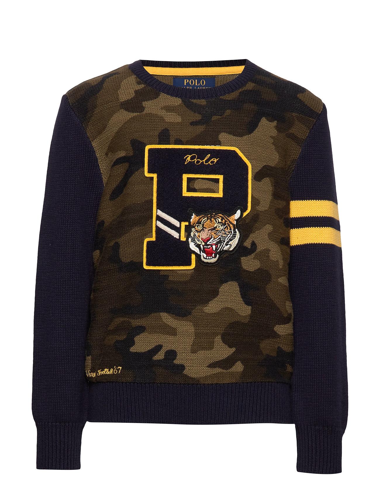 Ralph Lauren Kids Camo Cotton Letterman Sweater - CAMO MULTI