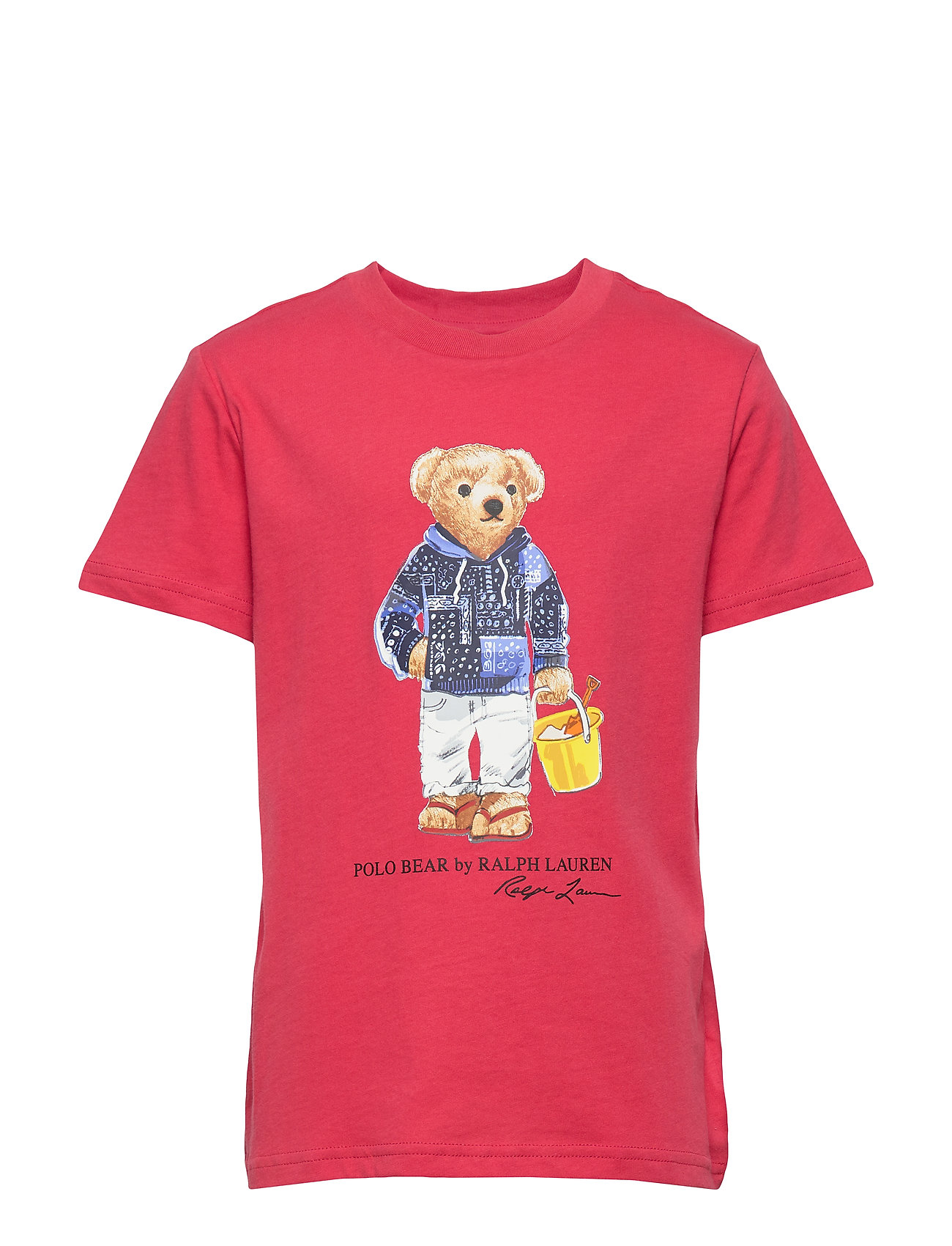Ralph Lauren Kids Diving Bear Cotton Jersey Tee - SUNRISE RED
