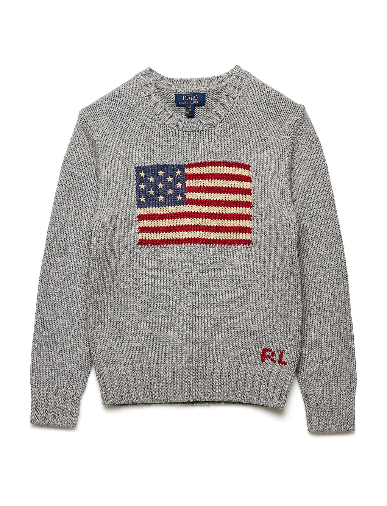 Ralph Lauren Kids Flag Cotton Crewneck Sweater - ANDOVER HEATHER