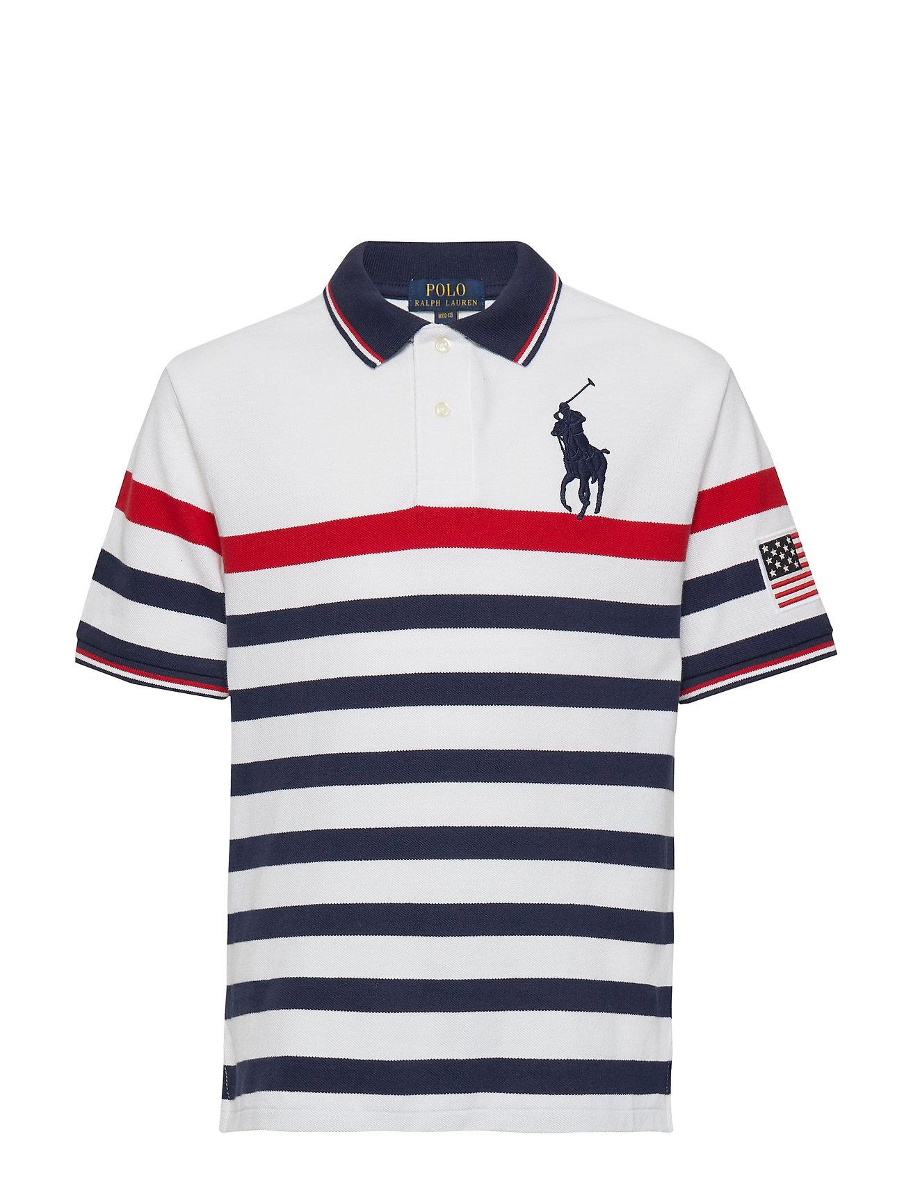 Ralph Lauren Kids Striped Cotton Mesh Polo Shirt - WHITE MULTI