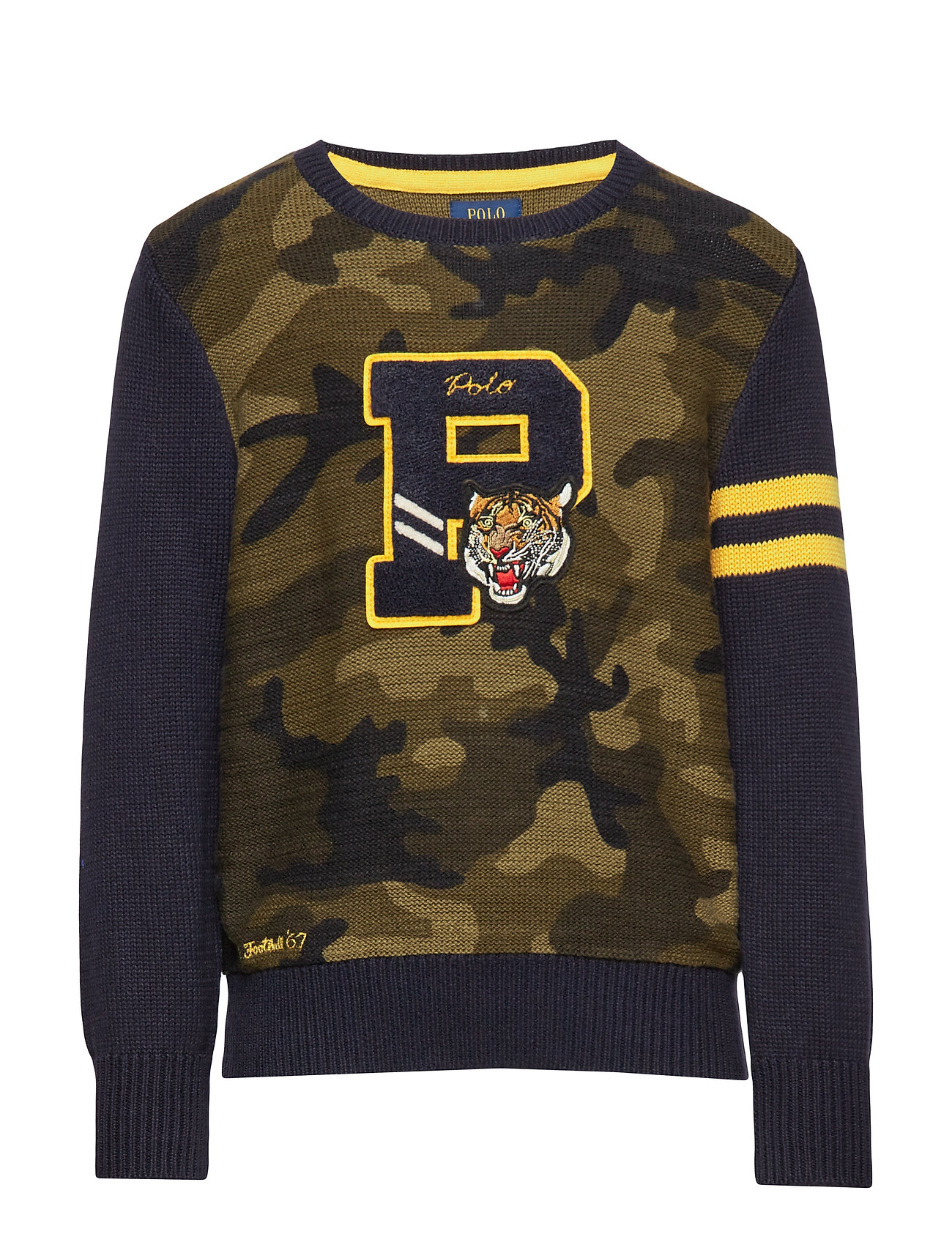 Ralph Lauren Kids Camo Cotton Letterman Sweater - CAMO MULTI