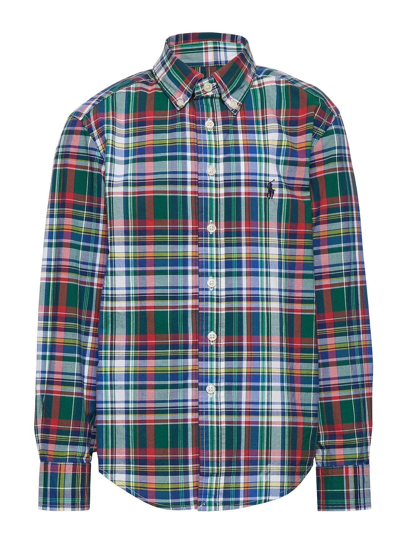 Ralph Lauren Kids Plaid Cotton Poplin Shirt - GREEN/RED MULTI
