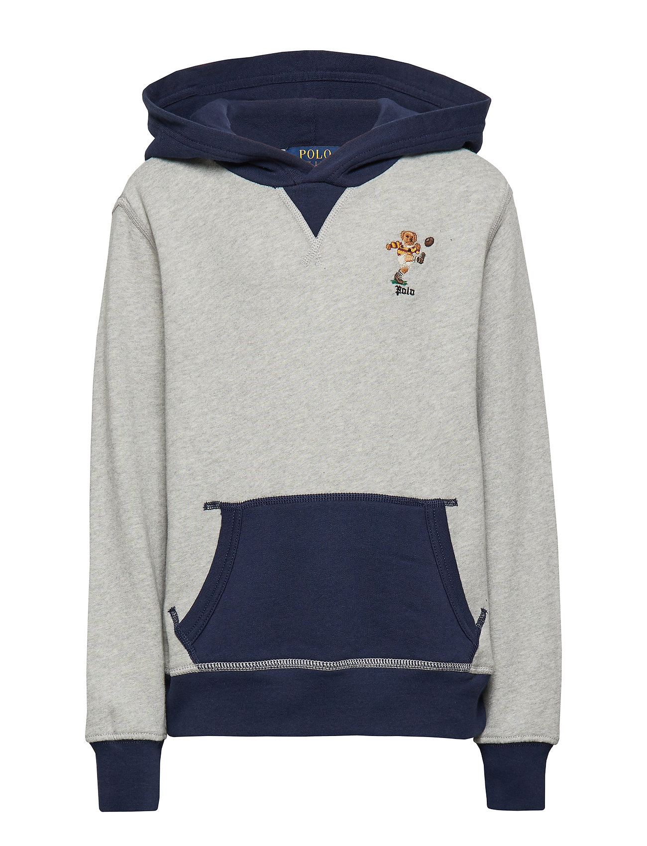 Ralph Lauren Kids LS PO HOOD-TOPS-KNIT - LT GREY HEATHER