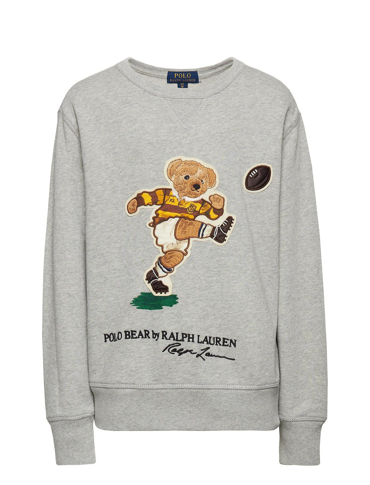 Ralph Lauren Kids Rugby Bear Cotton Sweatshirt - LT GREY HEATHER