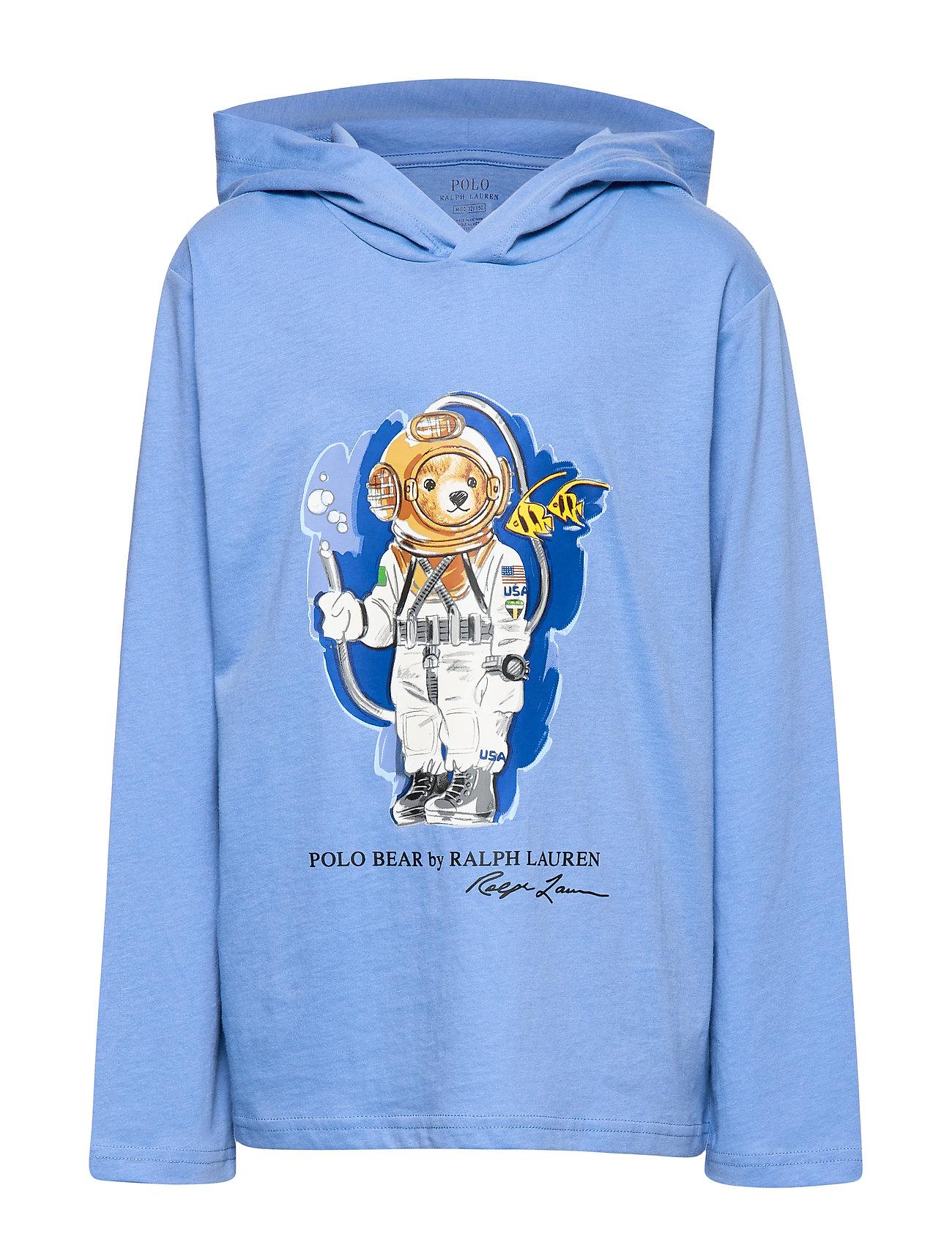 Ralph Lauren Kids Beach Bear Hooded Tee - FALL BLUE