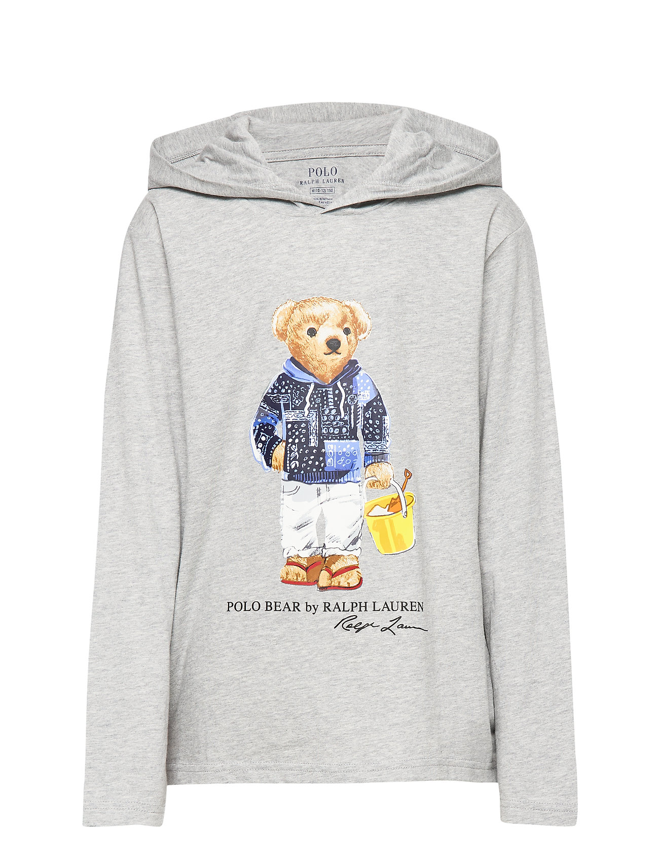 Ralph Lauren Kids Beach Bear Hooded Tee - LIGHT GREY HEATHE
