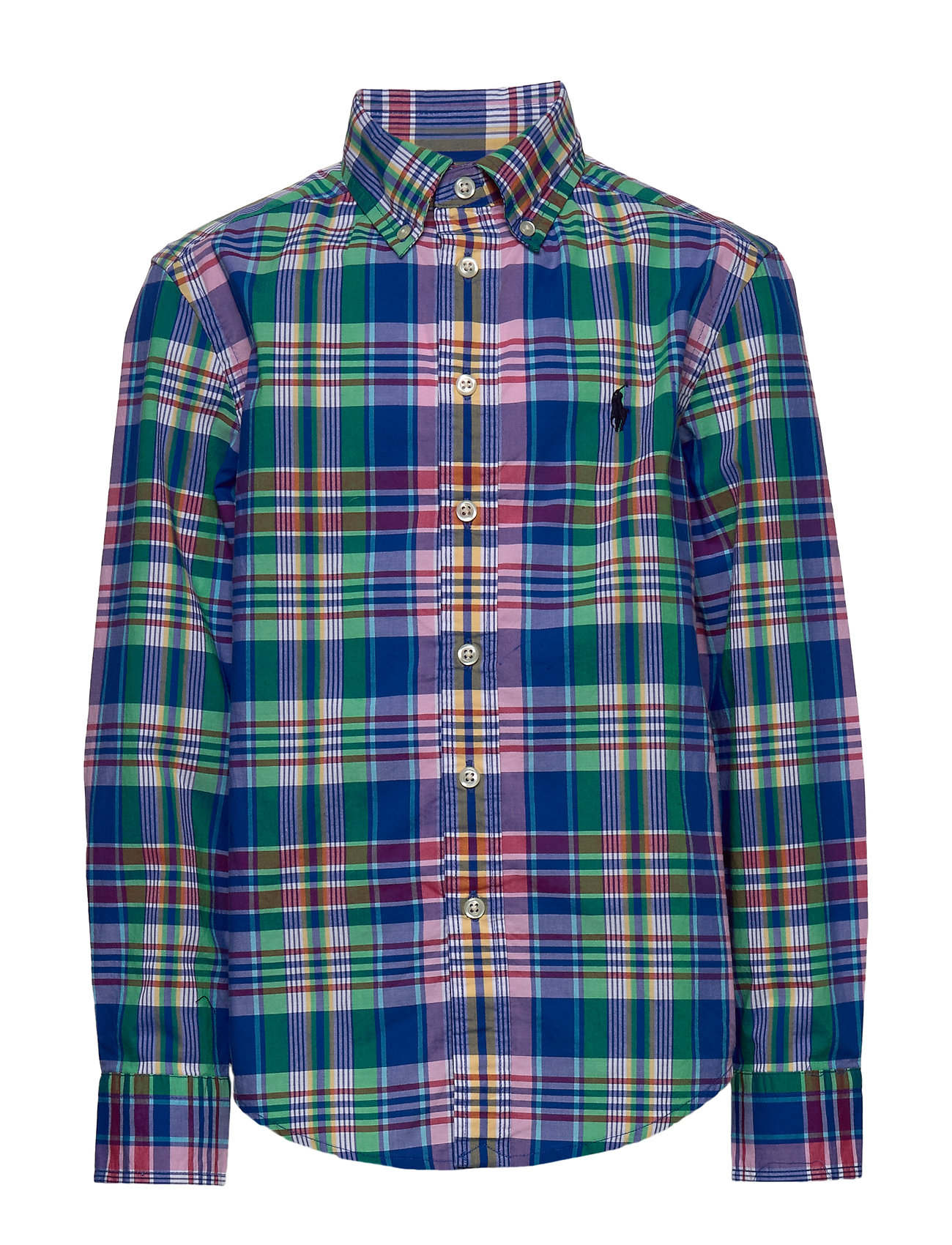 Ralph Lauren Kids Plaid Cotton Poplin Shirt - ROYAL MULTI
